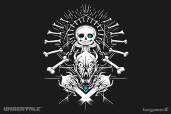 """""""Megalovania,"""" the ♥OFFICIAL♥ Sans T-shirt I designed, has landed! They asked for """"something based on the Sans fight"""" and I said """"demonic skulls, geometric lines, and dotwork?? Got it.""""Pre-order here: http://www.fangamer.com/products/megalovania"""
