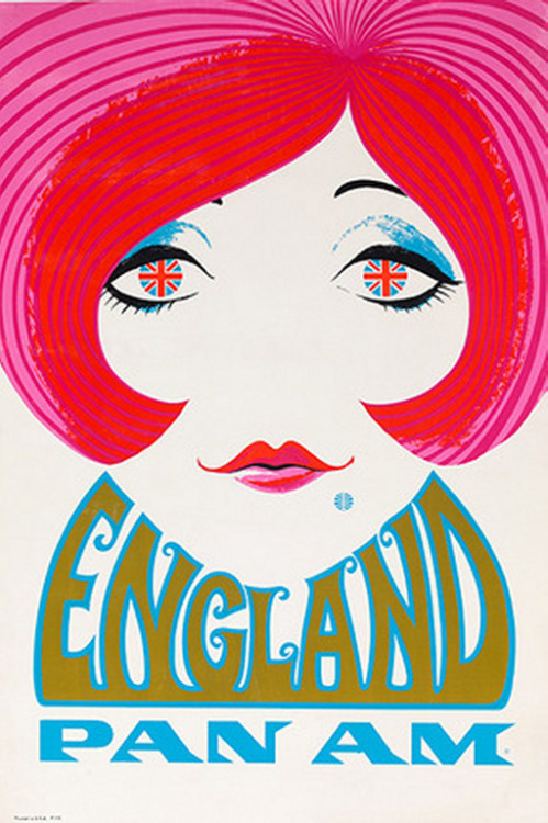 condenasttraveler:  Vintage Travel Posters | Pan Am England, Circa 1970  Cool stuff….