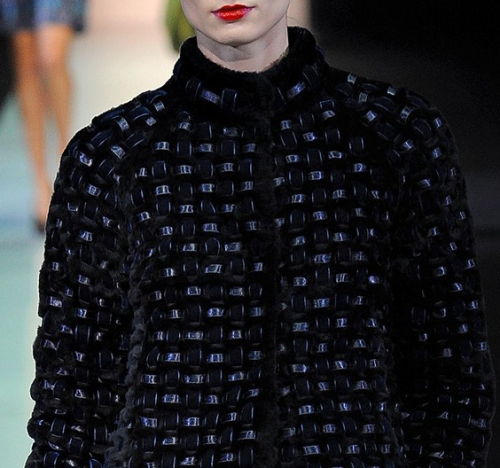 fashion-textile:  Emporio Armani at Milan Fashion Week Fall/Winter 2013/2014 details.