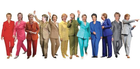 hausofcunty:  fancybidet:  oh-hannahdear:  Hilary Clinton pant-suit rainbow.  I legitimately love this.  the last one tho omg