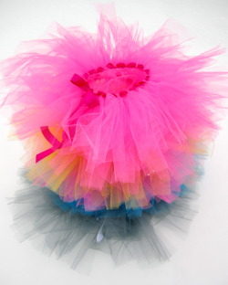POOFYTUTUS Party Pack A pack of 10 handmade basic two layer tutus. Made in Canada with 100% Canadian garment grade tulle, elastic and ribbon. These tutus are lead free and conform to North American material safety standards for children's clothing.These simple and affordable tie style tutus are the perfect base for decorating and personalizing with POOFYTUTUS decorating kit or your own ribbon, sparkles, felt shapes and buttons. Great for your fairy princess party, dance party, craft time or playtime activities! A wonderful alternative to loot bags. A rainbow of colours available. Customize the colours to create a unique set of 10. $135.00USD + Shipping for 10 tutus ORDER on Etsy