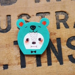 Sea Green Bear Shrink Plastic Brooch  www.etsy.com/shop/minifanfan  #etsy #shrink #plastic #handmade #cute #wearable #brooch #bear #sea #green