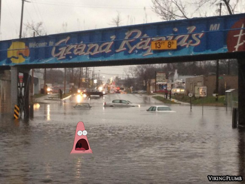 vikingplumb:  My home town is flooded, and my friend Krista says it's like Bikini Bottom. So this had to be done. BIKINI RAPIDS