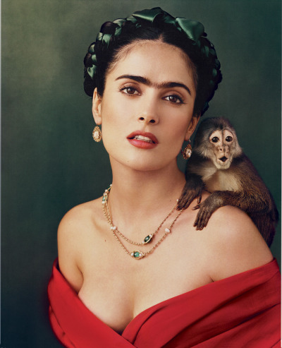 "aloneatheteroparty:  Salma Hayek as ""Frida"" photo by Annie Leibovitz"