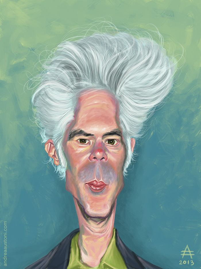 Caricature of film director Jim Jarmusch.