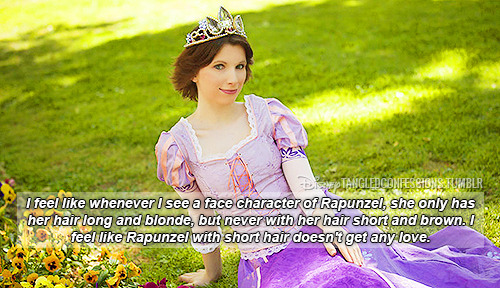 """I feel like whenever I see a face character of Rapunzel, she only has her hair long and blonde, but never with her hair short and brown. I feel like Rapunzel with short hair doesn't get any love."""