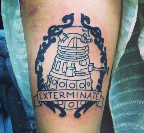 My new Doctor Who Dalek tattoo. Still needs to be colored but it's my favorite tattoo yet. Done by Joel Brewer at the Baltimore Tattoo museum. He's the best. my tumblr artists tumblr  What a cool nerdy submission at nerd tattoo!