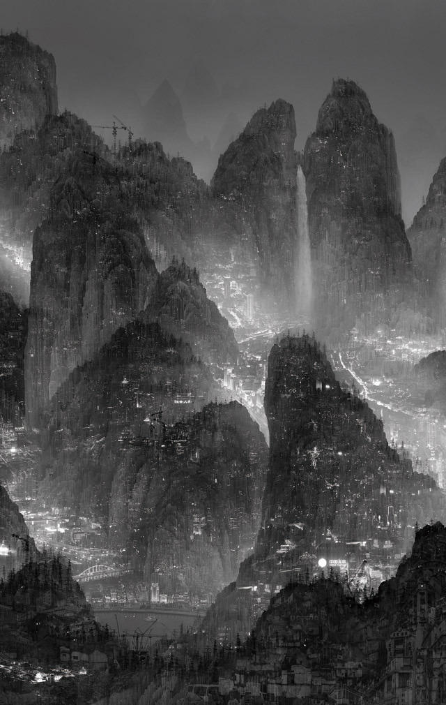 Yang Yongliang, The Day of Perpetual Night, 2012 (via Colossal)