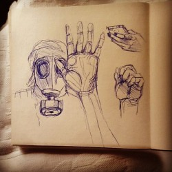 Sketching hands and gas masks #art #artwork #sketch #sketchbook #drawing #hands #illustration #pen