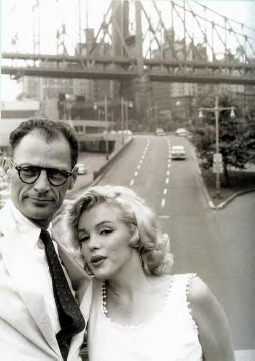 Arthur Miller and Marilyn Monroe in New York City, 1950s. (Source unknown)