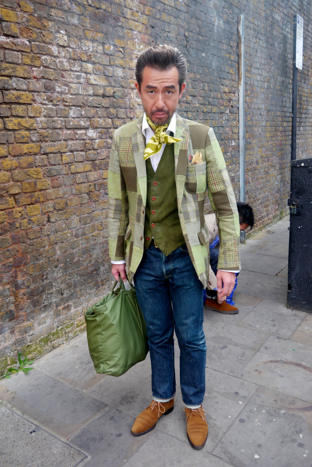 neoretrostreetstyle:   Khaki x blue, London! Beautiful patchwork jacket!