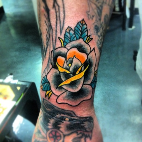 Black rose filler by Chance Gomez - Red Handed Tattoo Gallery - Las Vegas Nevada