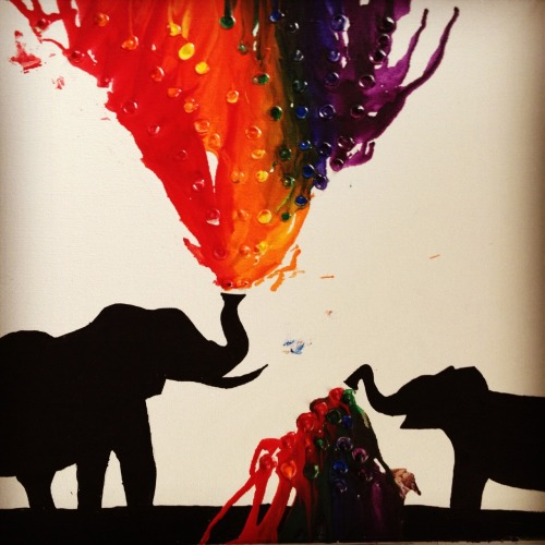 tarynthebear:  Melted crayon art. Yes, I made this.