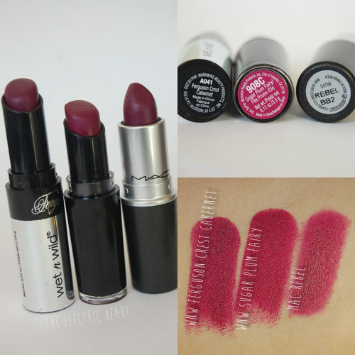 "drugstoreprincess:  Dupe Alert! Submitted by TheElectricHeart Wet n Wild ""Ferguson Crest Cabernet"" and ""Sugar Plum Fairy"" are dupes of MAC Rebel"