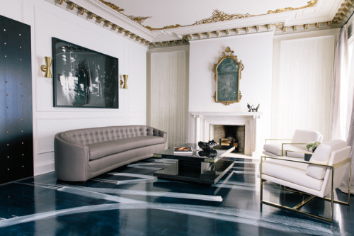 Room by designer Catherine Kwong. Painted floor - perfection.  via sukio.com