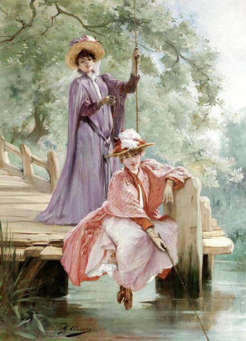 Georges Jules Victor, Elegant Ladies Fishing, (not dated)