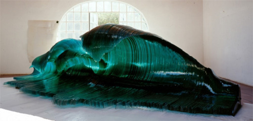 laughingsquid:  Wood and Glass Wave Sculptures by Mario Ceroli