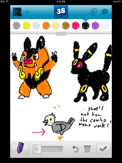 Everybody seems to be combining Pokémon.  Well, Pignite plus Umbreon equals PIGEON.
