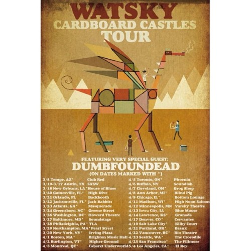 The official dates for the Cardboard Castles tour w/ myself @gwatsky and @dumbfoundead get your tickets on GeorgeWatsky.com/tour #Hustle