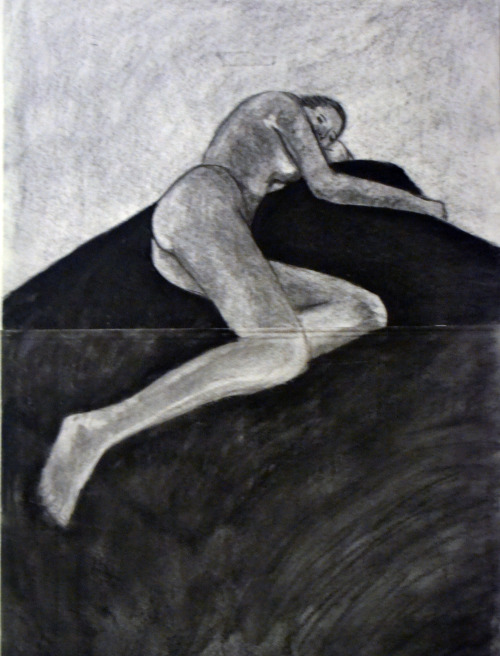 "sarahntodd:  ""Laying Nude"" (2011) -charcoal"