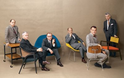 6 midcentury modern designers with the iconic pieces they created photographed in 1961 for Playboy.  L-R: George Nelson, Edward Wormley, Eero Saarinen, Harry Bertoia, Charles Eames and Jens Risom