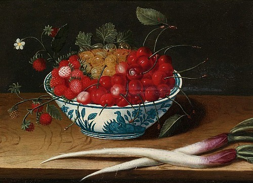 Abraham Gibbens Still Life with Strawberries, Cherries and Gooseberries 17th century