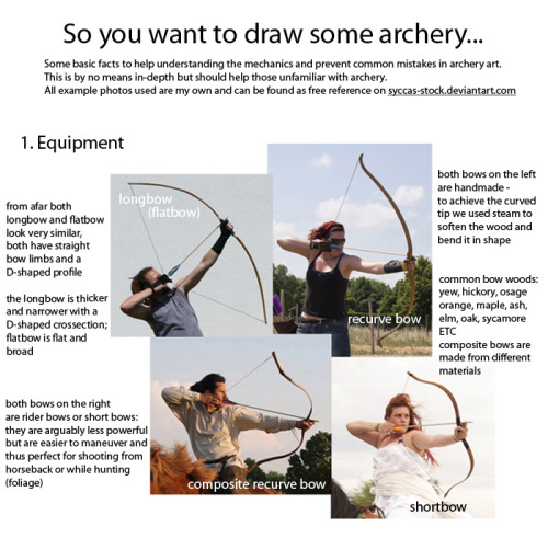 halfarsedhermit: Spent the last two days working on this little archery guide in art and writing. Considering the rise in popularity of archers in pop culture this hopefully comes in handy for a bunch of fandoms.