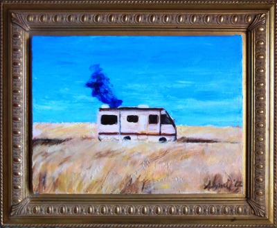 "breakingbadamc:  What's Cookin?, 2012, Oil Paint, 12""x16"" Palette knife painting with minimal use of a small brush for details. This has already been sold but I am working on a larger scaled piece. Check out my blog for other work! »http://anniebang.wordpress.com"