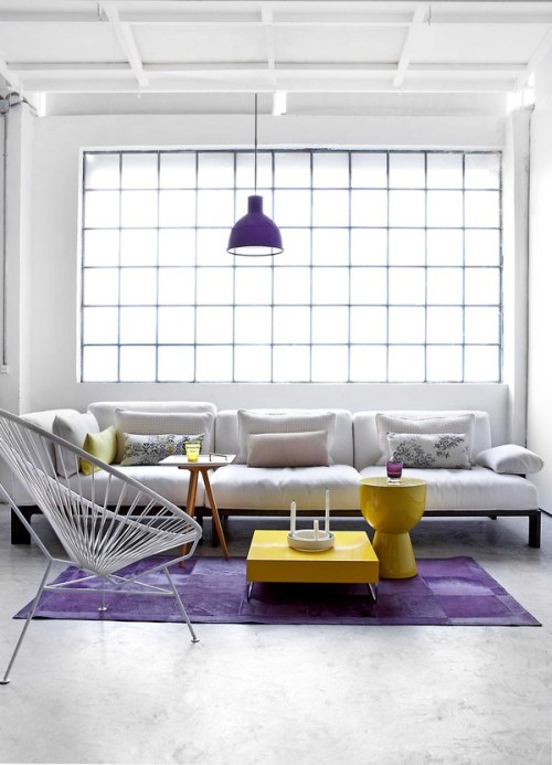 myidealhome:   yellow, purple, light (via Industrial Loft on Behance)