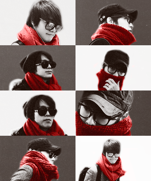 haebe:  fashion airport: DongHae+scarf+red