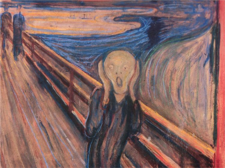 "collectivehistory:  The Scream by Edward Munch, 1893 Munch, viewing his paintings as his children, was reluctant to let go of any of them for sale. He thus made reproductions of the original in many mixed mediums. Such was the case with The Scream, of which there are many reproductions. This painting is Munch's masterpiece, and one of the most recognizable pieces of art in the world. According to Munch, he was inspired to paint this scene as he was walking in a boardwalk with tow of his companions. As he stopped and his companions walked on, he looked up at the blood red sky and felt a ""the scream of nature"" moving through him. This painting's legacy includes a number of artistic works, mentions in books, movies, television shows, and advertising campaigns."