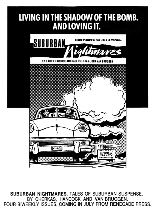 Promotional ad for Suburban Nightmares by Larry Hancock, Michael Cherkas, and John Van Bruggen, 1988.