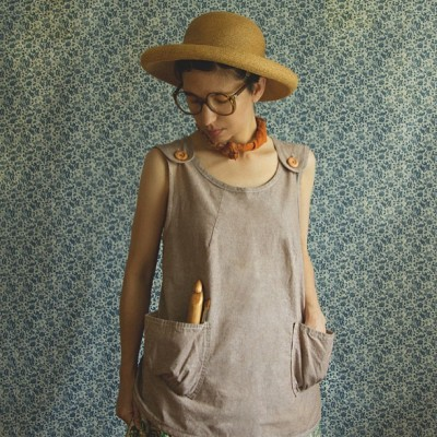 The perfect summer smock shirt, now in brown chambray!