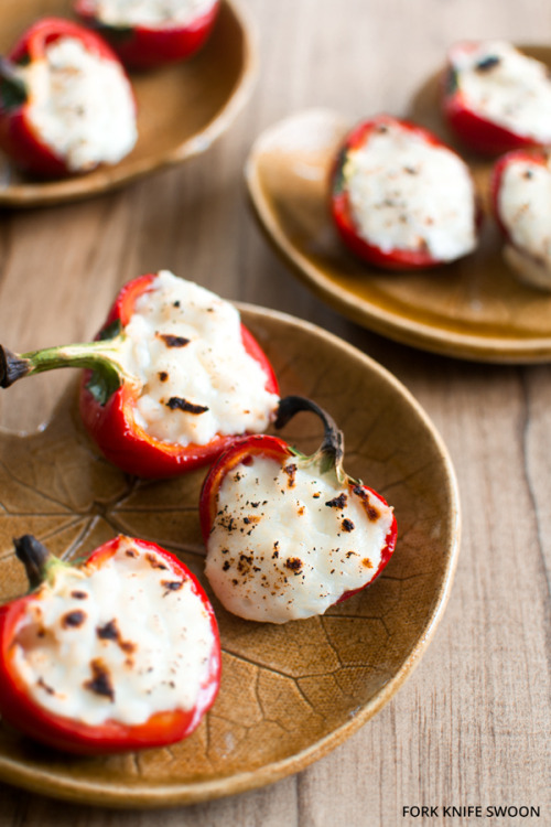 basilgenovese:  Goat Cheese Stuffed Cherry Peppers via Fork Knife Swoon