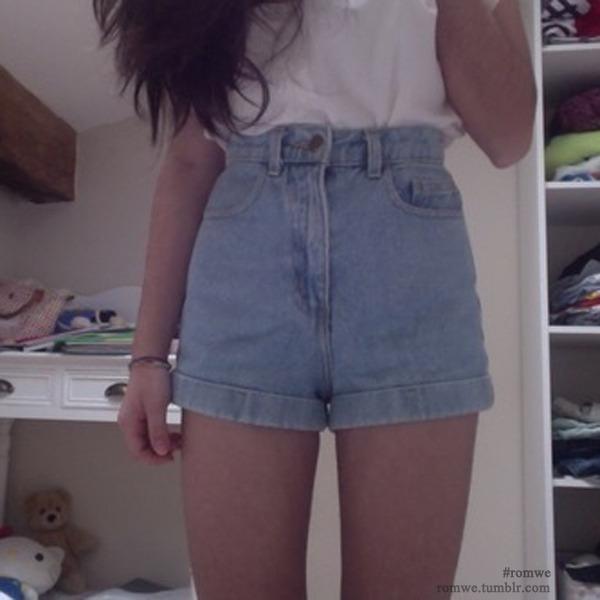 Rolled Cuffs Light-blue Denim Shorts