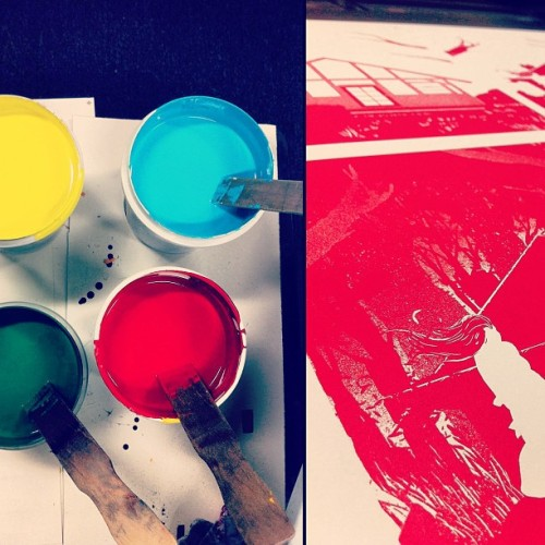 tragicsunshine:  The first four colors have been mixed and the first color is down. This is the eight color print for my Sights Unseen show this Saturday.(http://phoneboothgallery.com/) More progress to follow! #sightsunseen #phoneboothgallery