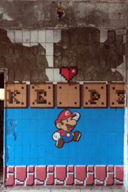 "intooishun:  Street Art ""Hey! It is mario!"" - Mr Kepz"