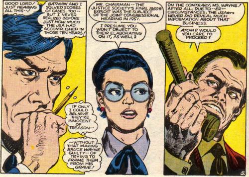 Helena Wayne looking sexy in those glasses while defending the entire JSA in court.