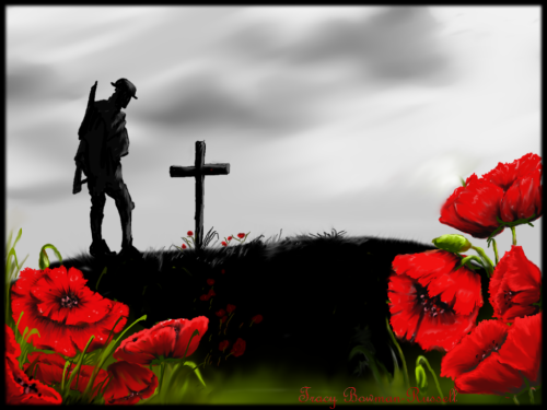 In Flanders Field   In Flanders fields the poppies blowBetween the crosses, row on row,That mark our place; and in the skyThe larks, still bravely singing, flyScarce heard amid the guns below.We are the Dead. Short days agoWe lived, felt dawn, saw sunset glow,Loved and were loved, and now we lie,In Flanders fields.Take up our quarrel with the foe:To you from failing hands we throwThe torch; be yours to hold it high.If ye break faith with us who dieWe shall not sleep, though poppies growIn Flanders fields.   John McCrae