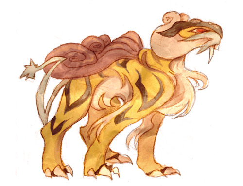 "cryptovolans:  day 19: favorite legendary dogaand I'm just gonna take this opportunity to say that it's really weird that raikou is a ""legendary dog."" I MEAN, this is clearly a saber toothed tiger, right??? whatever, pokemon!"