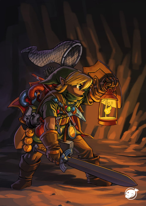 How Link carries all of his equipment.