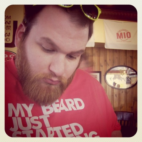 its-better-with-a-beard:   My wonderful bearded boyfriend on Valentine's Day contemplating the menu at the restaurant where we had our first date. His beard was of epic lengths, but it's just as amazing short!  short or long, a beard is a beard. and its better with a beard, right?  The boyf ladies and gentleman.