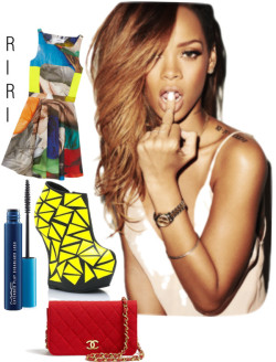 RiRi van rebelleshevanny met short dressesChalayan short dress / Neon boots, $270 / Chanel vintage handbag / MAC Cosmetics , $19