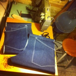 Making my first jeans with help from my good friend Douglas.