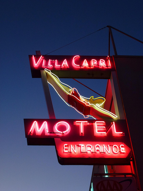 klappersacks:  Coronado, CA Villa Capri Motel sign by army.arch on Flickr.