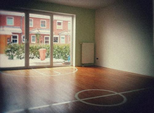Indoor Interior Basketballboden Spielfeldsicht