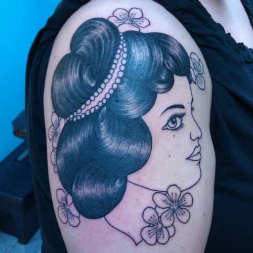 Color in a couple weeks. #tattoo #ladyhead #cherryblossoms