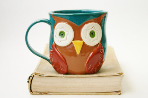 "lovelyetsy:  ""Mr. Owl"" Ceramic Mug by BackBayPottery  Adorb."