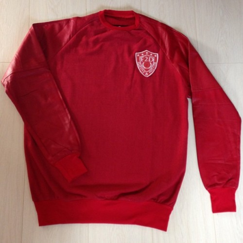 RED ON RED LEATHER SLEEVED SWEATER ONLINE NOW!! Store.fresh2defclothing.com#streetwear #fashion #style #leather #sweater #redonred #outnow #ss13 #style #igstyle #swag #instafashion