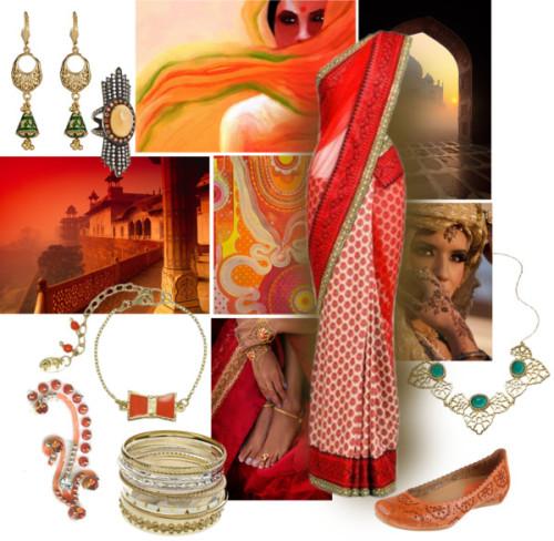 polyvore fashion style Taara saree